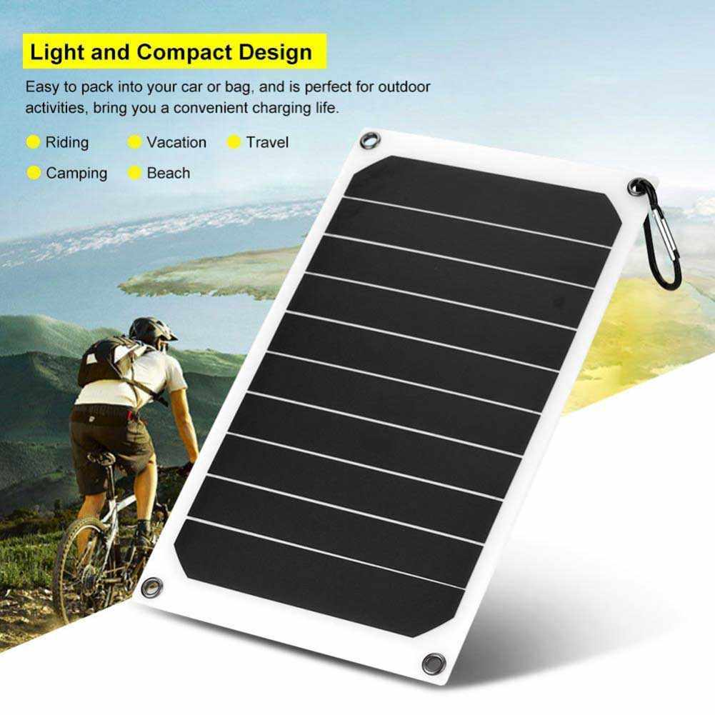 Portable 10W IP64 Solar Panel Mobile Power Charger 5V USB Kuat Pengisian Clh @ 8
