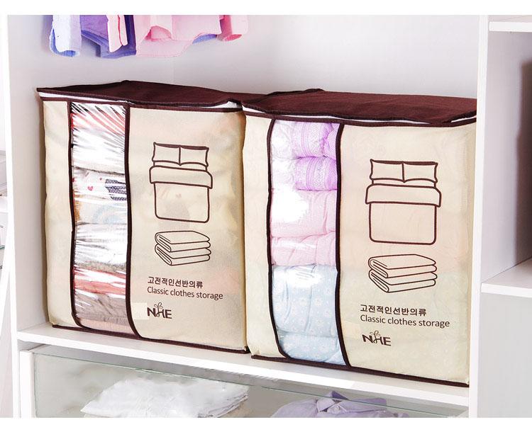 2018 new Non-woven Portable Clothes Storage Bag Organizer 45.5*51*29cm Folding Closet Organizer For Pillow Quilt Blanket Bedding 14