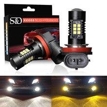 S & D 2pcs 자동차 LED 램프 H11 H8 LED 전구 HB4 Led HB3 9006 9005 P13W 노란색 앰버 화이트 1200Lm 12V 자동차 운전 램프 조명 교체