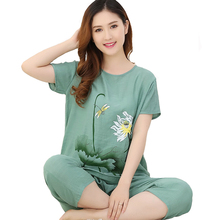 Plus Size 3XL 4XL Summer Lady 2PCS Shirt&Pants Sleep Set Cotton Linen Sleepwear Loose Pajama Pijama Suit Floral Nightwear