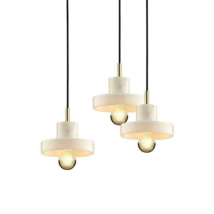 Moderne Marbre pendentif lumières Creative personnalité forme ronde Hall de l'hôtel décoration de salle à manger art led lampes suspendues