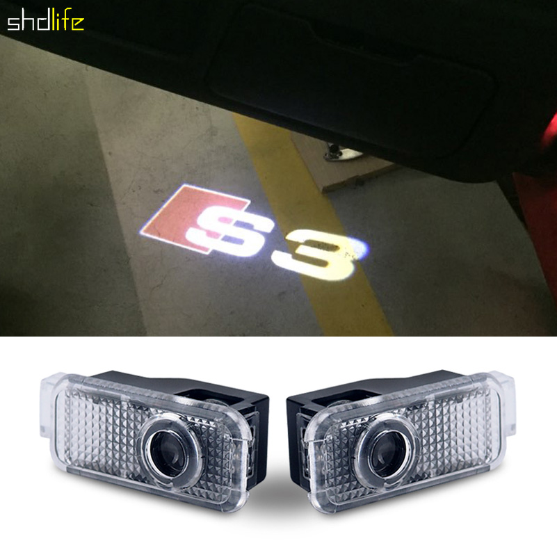2pcs Car Door Welcome Lights Logo Projector LED For Audi A3 A4 A5 A6 A7 A8 A1 B6 B5 B8 100 Q3 Q5 Q7 8P C5 C6 C7 TT R8 80 S line