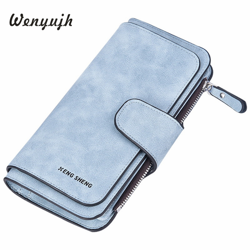 WENYUJH Hot Brand Wallet Women Scrub Leather Lady Purses High Quality Ladies Clutch Wallet Long Female Wallet Carteira Feminina
