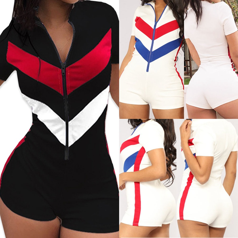 2019 New Short Sleeve Summer Ladies Sexy Bodycon Costume Zippers Women Playsuits Deep V-neck Solid Casual Playsuits