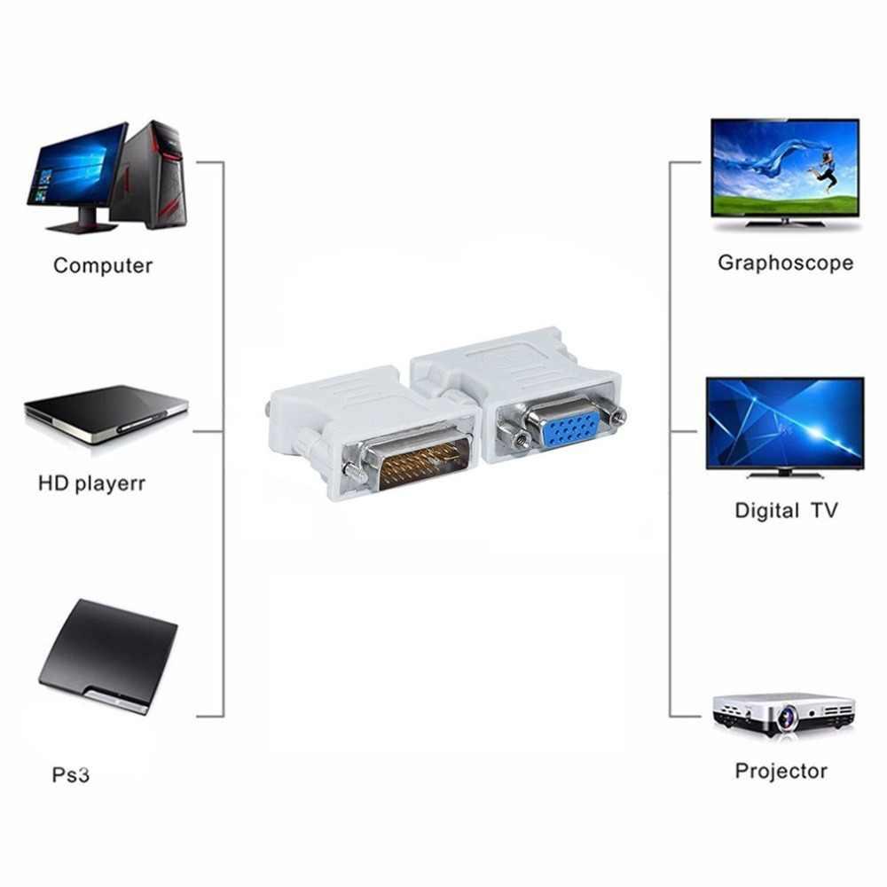 L-شكل DVI-I لمحول VGA ، 90 درجة DVI 24 + 5 29Pin الذكور إلى VGA 15 دبوس أنثى محول اتصال محول لأجهزة الكمبيوتر المحمول