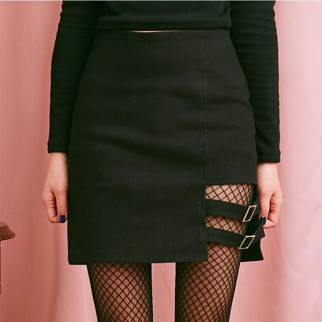 New Arrivals 2018 Summer Women Harajuku Right Leg Hollow Out Skirt Female Sexy Mini Skirt