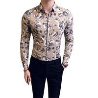 100% Camicia di Cotone Stampa Floreale Slim Fit Mens Casual Cotone camicia Con Manica Lunga Chemise Homme Camicie Hawaiane Navy Khaki 3xl