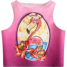 ce3b93144cc15c Women Crop Tops 2018 Sunshine Lotus Flower Angel Flamingo Pattern Printed  Slim Fit Tank Skinny Vest