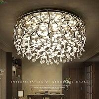 Nordic хромированный металлический светодио дный затемненный светодиодный потолочный светильник блеск Хрустальная спальня светодио дный св