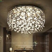 Nordic хромированный металлический светодио дный затемненный светодиодный потолочный светильник блеск Хрустальная спальня светодио дный светодиодный потолочный светильник Гостиная светодио дный светодиодный потолочный светильник