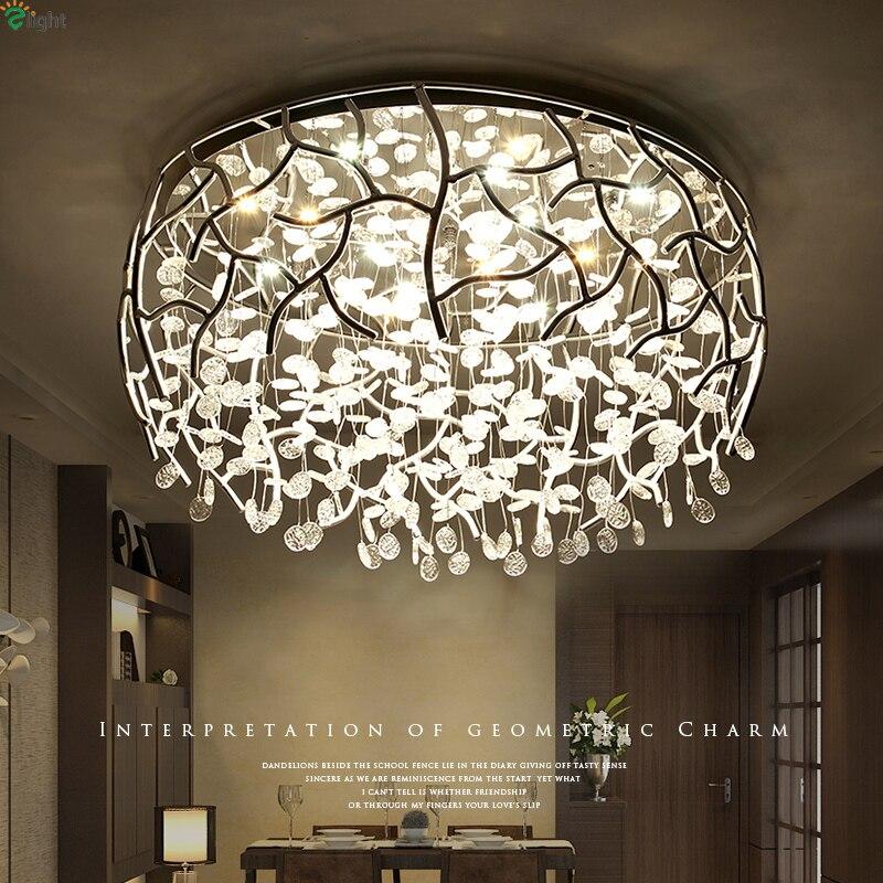 Nordic Chrome metalowe ściemniane lampy sufitowe Led Lustre kryształowe łóżko oświetlenie Led do pokoju lampa sufitowa salon oświetlenie Led do pokoju oprawy oświetlenia sufitowego