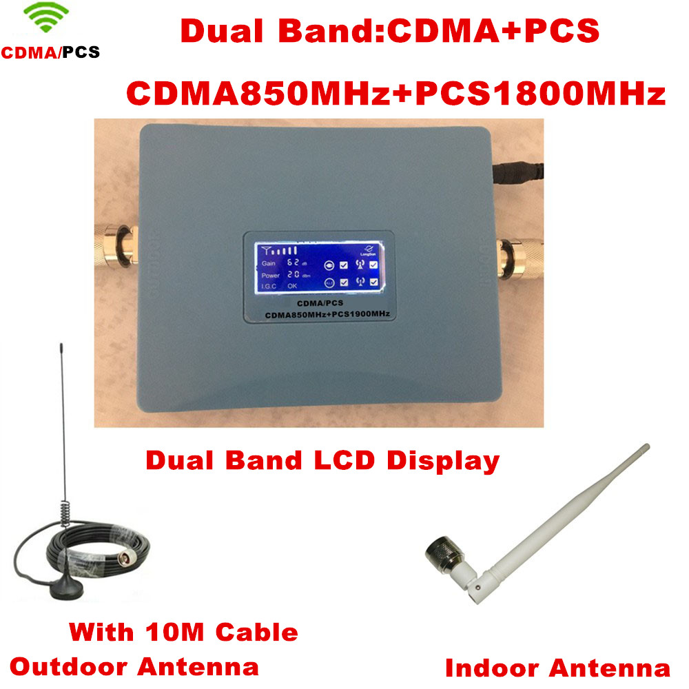 Full Set Dual Band LCD Display PCS 1900MHz CDMA 850Mhz Mini Signal Repeater Cell Phone Signal Booster PCS CDMA Signal AmplifierFull Set Dual Band LCD Display PCS 1900MHz CDMA 850Mhz Mini Signal Repeater Cell Phone Signal Booster PCS CDMA Signal Amplifier