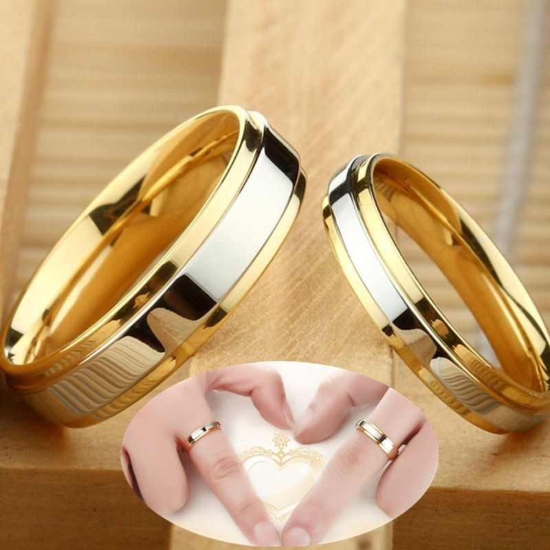 9e721580a1de Nuevo diseño Simple 316 titanium acero amante pareja anillos alianza de  lujo de Oro 4mm 6mm