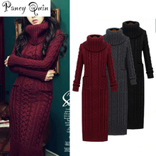 Women Winter Knit Dresses Europe Long Sleeve Turtleneck Casual font b Slim b font Warm Maxi