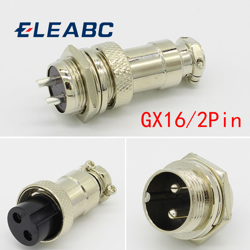 1 Set 16mm 2 Pin Aviation Plug Male /& Female Wire Panel Metal Connector GX16-2