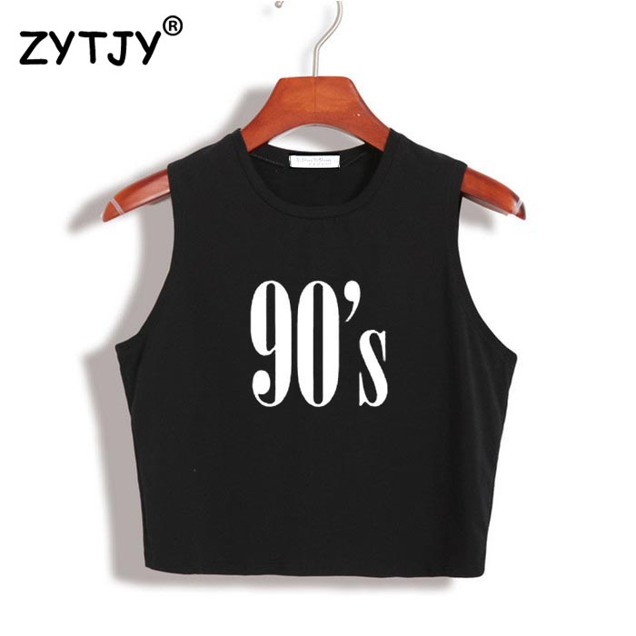 90'S Letters Print Women Crop   Top   Summer Sexy Slim Short Shirt For Girl   Tank     Top   Tee Hipster Vest Drop Ship Z-3