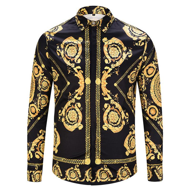 Black Gold Print Shirt 2018 New Baroque Slim Fit Party Club Shirt Men Camisa Homem Male Long Sleeve Shirt Oversize 2XL Hip Hop