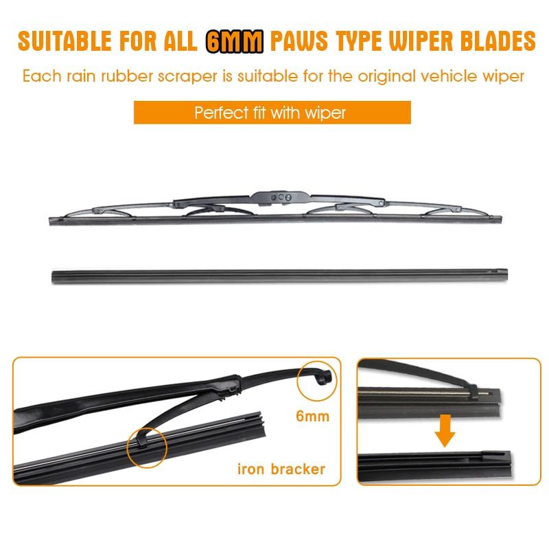 "1PCS Windshield Windscreen 8MM 6MM 14""16""17""18""19""20""21""22""24""26""28"" Car Wiper Blade Replacement Insert Refill Rubber Strip 3"