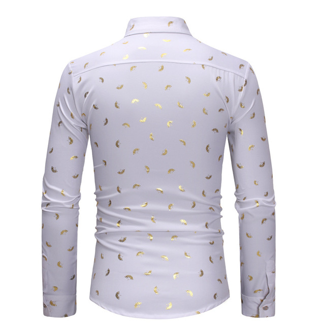 Men Stylish Gold Fan Print Shirt Slim Fit