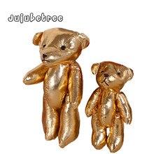 Mini Golden PU läderfogar björnar fyllda dockor charms leksak DIY funna bröllop dekor gåva leksaker för barn