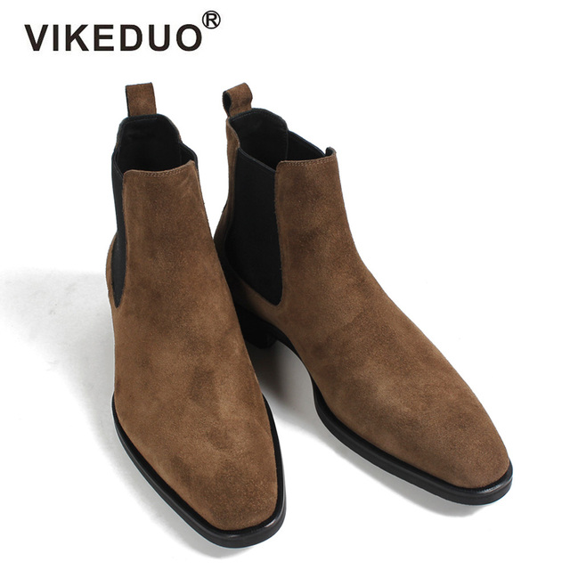 VIKEDUO 2018 Classic Chelsea Boots Men Handmade Suede Ankle Boots Male Bespoke Autumn Square Toe Men's Shoe Wedding Office Botas
