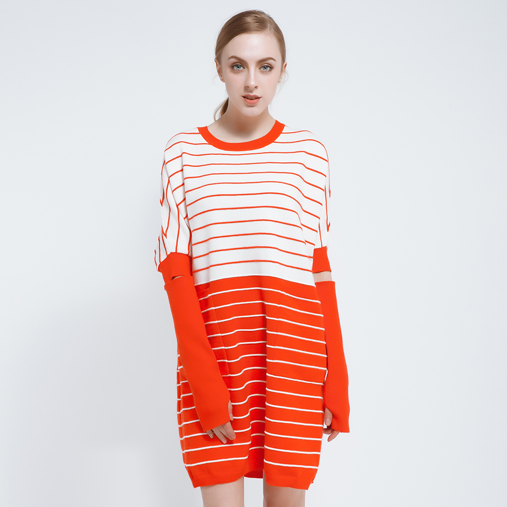 2018 Spring Summer Dress Women Long Sleeve Loose Dresses Knitted White Black Orange Striped Pullovers Sweater with 2 Pockets