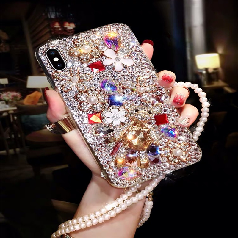 Bling Lovely Crystal Diamonds Rhinestone 3D Stones Phone Case Cover For Iphone 6 7 8 Plus XS XR MAX For Samsung Galaxy S5 S8 S9 image