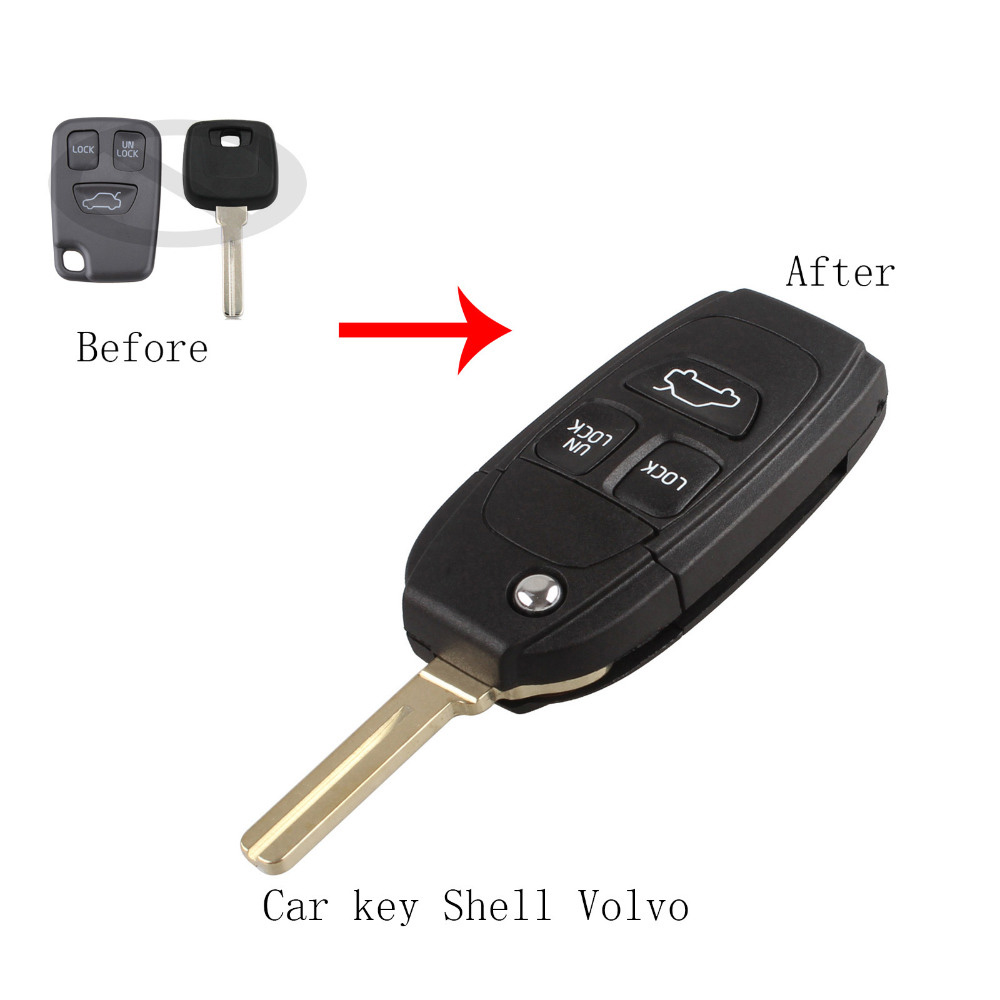 Replacement Folding Car Key Fob Case 3 Button Flip Remote