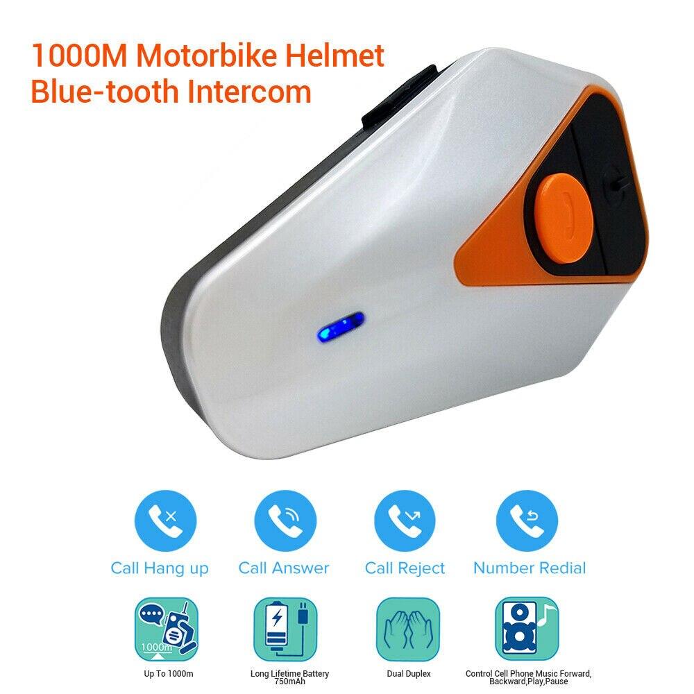 1 KM branchement réduction de bruit moto casque sans fil interphone casque appel Radio FM interphone