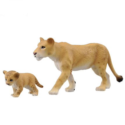 Simulation model of wildlife movable toy female lion cubs