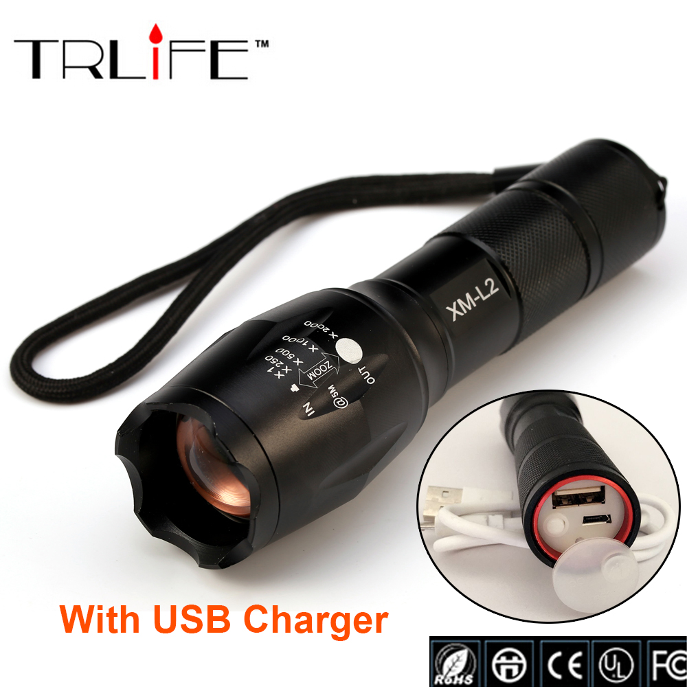 USB E17 8000 Lumens 3-Mode CREE XM-L L2 LED Flashlight Lighting Zoomable Focus Torch W/ Rechargeable Li-Po Battery USB Charger 5000lumnes usb cree xpe led flashlight zoomable flashlight torch flash light lamp lighting with usb charger battery