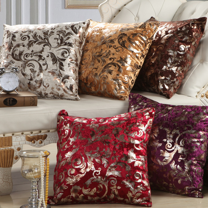 1Pcs Vintage Flower Pattern Soft Short Velvet Throw Pillow