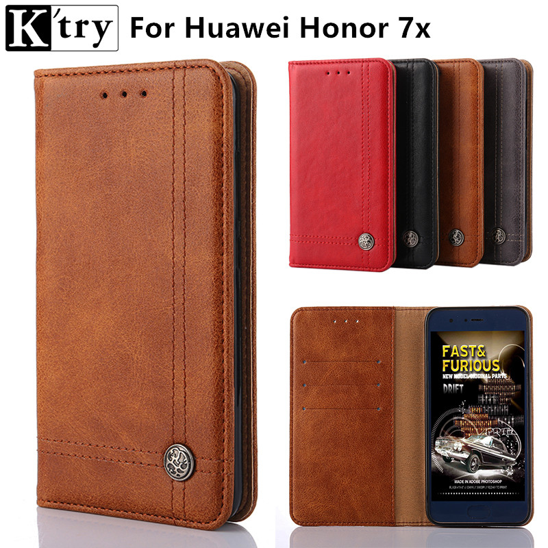 K'try For Huawei Honor 7x Cover Flip PU Leather Cases For Huawei Honor 7x 5.97'' High Quality Book Style Cell Phone Cover