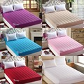 Quilted Mattress Covers with an elastic band Solid color Fitted Sheet fillings with silk&cotton Mattress protective cover
