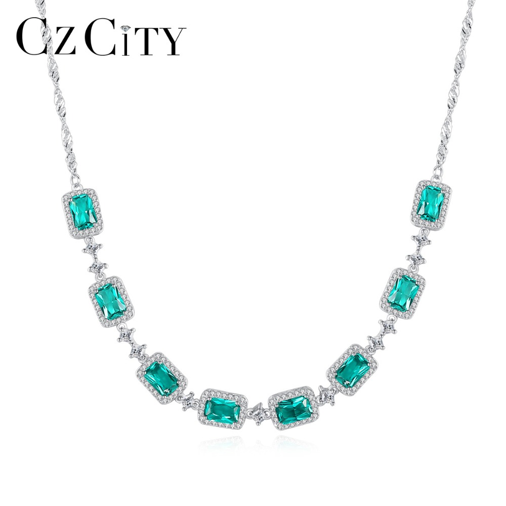 CZCITY Luxury Emerald Wedding Pendant Necklace for Women Charming Trendy Chain Link Necklace 925 Silver Sterling