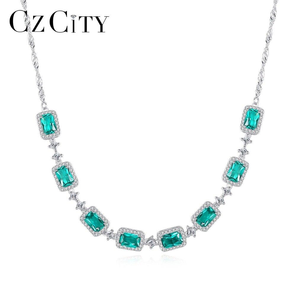 CZCITY luxe émeraude mariage pendentif collier pour femmes charmant à la mode chaîne lien collier 925 argent Sterling Fine bijoux
