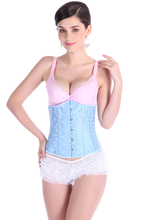 NEW light blue flower boned wedding underbust Sexy Waist Workout Cincher Body Shaper Shapewear Corset 2833L for Women girl
