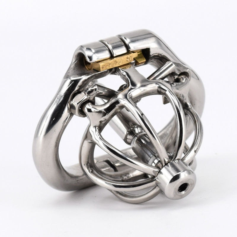 Male Chastity Spike Cock Cage With Urethral Tube Stainless Steel Super Small Chastity Devices Short Penis Lock Ring Sex Toys