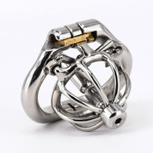 """Cock Cage With Urethral catheter Spike Stainless Steel Super Small Male Chastity Devices 1"""" Short Penis Lock Cock Ring Sex Toys"""