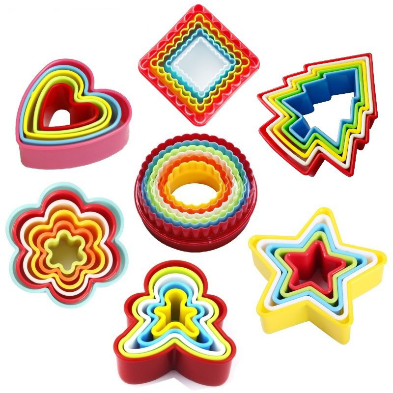 1Set Pack Colorful Plastic Cake Cookies Molds Fruit font b Salad b font Moulds 7Styles can