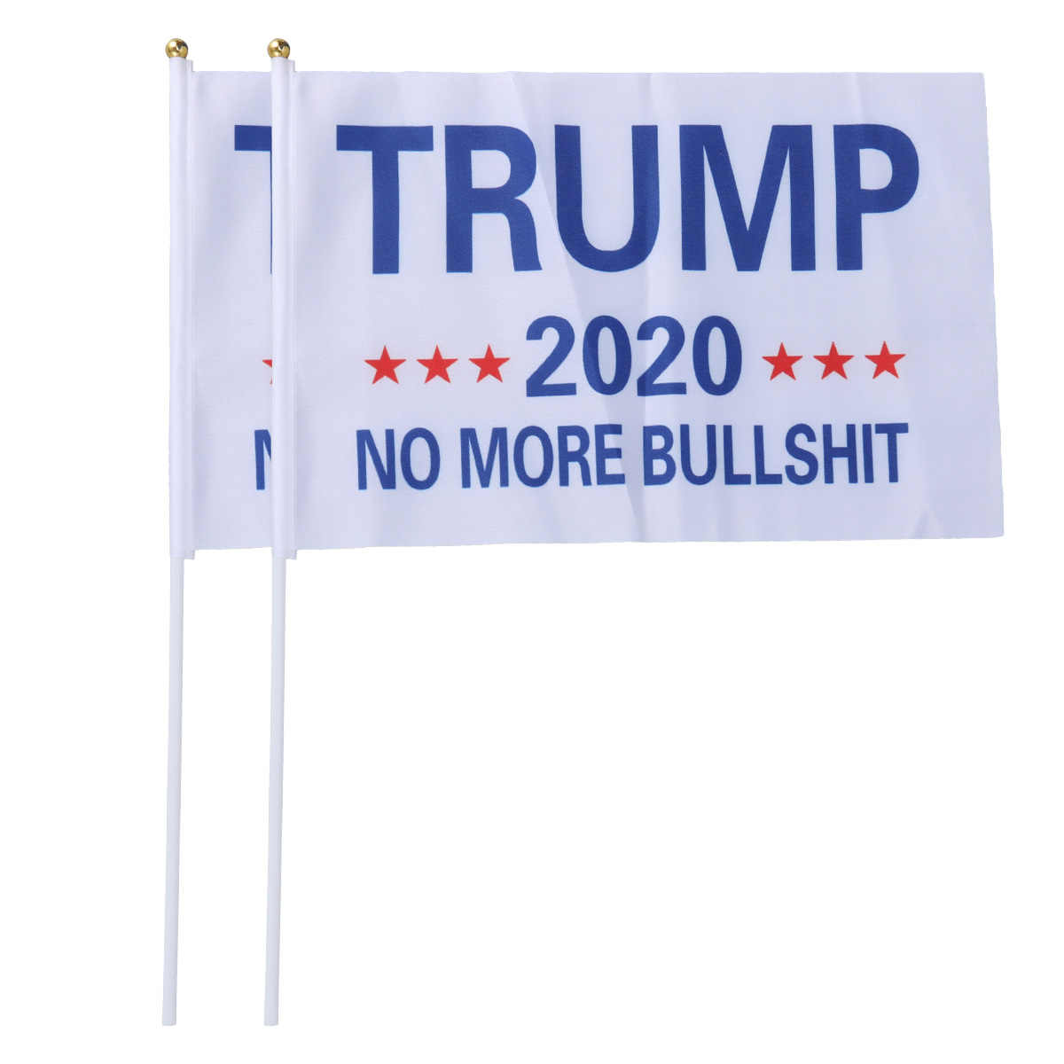 2Pcs 14x21cm Trump No More Bullshit Flag Banner Donald Trump Flag Hand Waving Banner Grommet