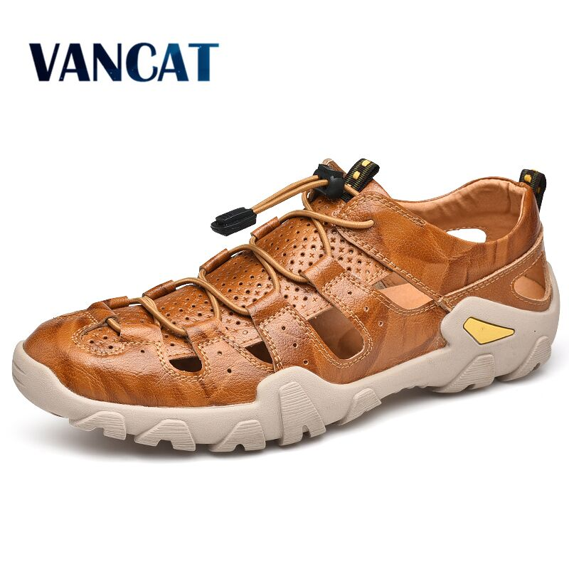 New Cow Genuine Leather Sandals Outdoor 2019 Summer Men Shoes Men Breathable Casual Shoes Footwear Walking Beach Sandals Size 47|Men