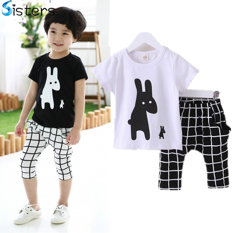 2017 Baby Boys Summer Cotton Clothes sets Cartoon Animal Printed Cool black white Tshirts+