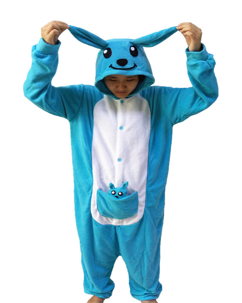 2017 New Blue Kangaroo Onesie Novel Girls Jumpsuit Pyjamas Nightgowns Women Sleeve Pajama Long Sleeve S-XL Chinese Market Online