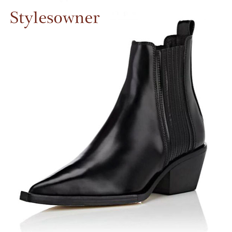 цены Stylesowner genuine leather all match retro style ankle boots women pointed toe chunky heel motorcycle boot fashion chelsea boot