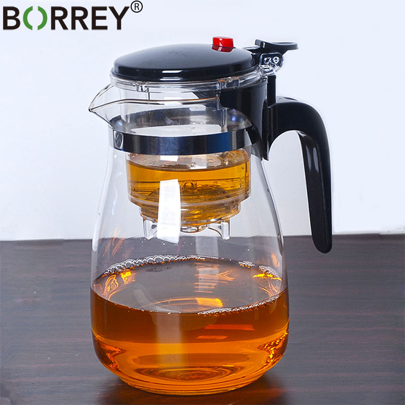 BORREY Heat Resistant Glass Teapot With Infuser Filter Chinese Kung Fu Puer Oolong Tea Teapot 500Ml