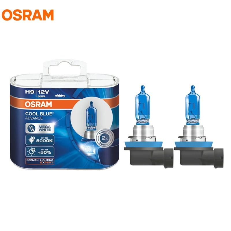 OSRAM H9 62213CBA 5000K 12 в 65 Вт, прохладные синие галогенные лампы, Мега белый головной светильник, на 50% больше, светильник для автомобильных фар, даль...