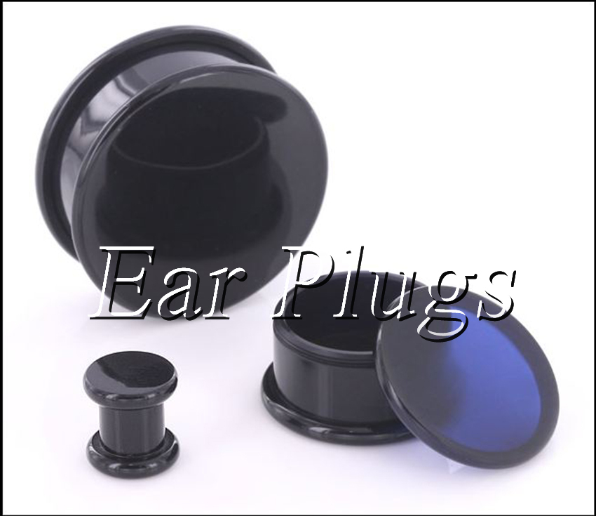 Box Plugs black acrylic thread hollow center stash ear plug gauges ear tunnel expander 10-24mm 80pcs/bag A0493