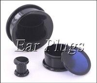 Box Stekkers zwart acryl draad hollow center stash oordop meters oor tunnel expander 10-24mm 80 stks/zak A0493