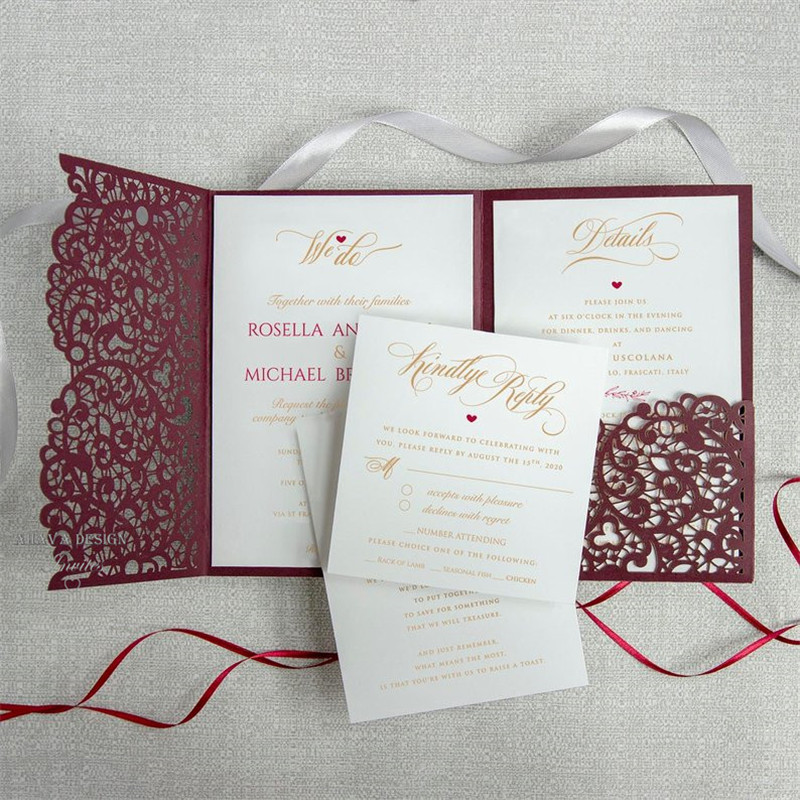 Wedding Invitation Diy Kits: Burgundy Laser Cut Pocket Wedding Invitation, Marsala Wine